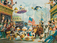 Carl Barks July Fourth in Duckburg Signed Limited Edition Lithograph Print #10/350 (Another Rainbow, 1998)