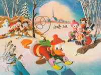 Carl Barks Snow Fun Signed Limited Edition Lithograph Print #10/345 (Another Rainbow, 1990)