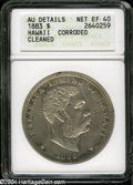 Coins of Hawaii: , 1883 S$1 Hawaii Dollar XF40--Corroded, Cleaned--ANACS, AUDetails....