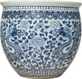 Ceramics & Porcelain, A Large Chinese Blue and White Porcelain Jardinière, Qing Dynasty, 19th century . 21-1/2 x 24 inches (54.6 x 61.0 cm). ...
