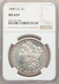 Morgan Dollars: , 1889-CC $1 MS63+ NGC. Pop (65/47), CDN Collector Price ($41100.00), CCDN Price ($32500.00), Trends ($45000.00), CAC (9/5)