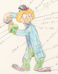 The Autograph Hound Harpo Marx Color Model Animation Drawing (Walt Disney, 1939)