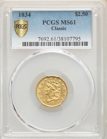 1834 $2 1/2 Classic, MS PCGS Secure 61 PCGS