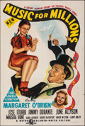 """Movie Posters:Comedy, Music for Millions (MGM, 1945). Folded, Fine+. Australian One Sheet (27"""" X 40""""). Comedy.. ..."""