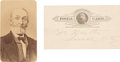 Photography:CDVs, (George Armstrong Custer): A Rare Autograph Note And 19th Century Image Of His Father E. H. Custer.... (Total: 2 Item...