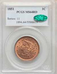 1851 1C MS64 Red PCGS. CAC. PCGS Population: (25/15). NGC Census: (12/12). MS64. Mintage 9,889,707. ...(PCGS# 1894)