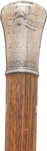 "Political:3D & Other Display (pre-1896), Independence Hall: Carved ""Know-Nothing"" Relic Cane Dated 1855...."