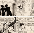 Original Comic Art:Comic Strip Art, F.O. Alexander Hairbreadth Harry #Q50 Daily Comic Strip Original Art 2 Segments (Ledger Syndicate, 1930s). ... (Total: 2 Original Art)