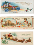 Advertising:Small Novelties, Lot of Three Celluloid Ink Blotter; Two Santa Christmas Scenes and a Bread Co. Advertising Blotter.... (Total: 3 Items)