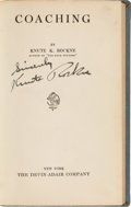 Football Collectibles:Publications, 1925 Knute Rockne Signed Book....