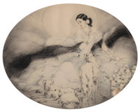 Louis Justin Laurent Icart (French/American, 1888-1950) Lady Dame aux Camélias, 1927 Etching in colors on paper 1...