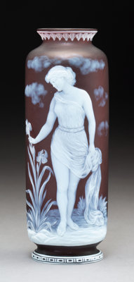 George Woodall for Thomas Webb & Sons Cameo Glass Vase: Flora, circa 1890 Signed: Geo. Woodall Marks: FLORA