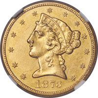 1873-CC $5 -- Obverse Cleaned -- NGC Details. AU. Variety 2-A....(PCGS# 8331)