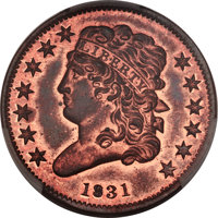 1831 1/2 C Reverse of 1836 PR65 Red and Brown PCGS. CAC. B-2, High R.5....(PCGS# 1190)