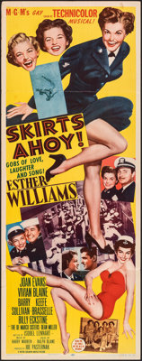 "Skirts Ahoy! (MGM, 1952). Folded, Fine/Very Fine. Insert (14"" X 36""). Comedy"