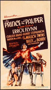 """The Prince and the Pauper (Warner Bros., 1937). Fine+ on Paper. Midget Window Card (8"""" X 14""""). Swashbuckler..."""