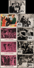 "Movie Posters:Comedy, A Day at the Races (MGM, 1937/R-1962). Fine/Very Fine. Lobby Cards (4) & Australian Lobby Cards (5) (11"" X 14""). Come..."