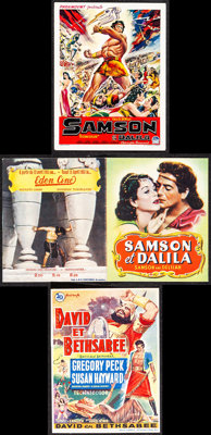 """Samson and Delilah & Other Lot (Paramount, 1951). Folded, Very Fine. Belgian Heralds (3) (4.25"""" X 5.5"""" &am..."""