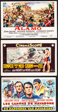 """Movie Posters:Western, The Alamo & Other Lot (United Artists, 1960). Very Fine-. Belgian Heralds (3) (6.25"""" X 4""""). Reynold Brown Artwork. We..."""