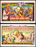 """Movie Posters:Adventure, King Richard and the Crusaders & Other Lot (Warner Bros., 1954). Fine/Very Fine. Belgian Heralds (2) (6.25"""" X 4""""). Ad..."""