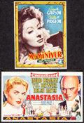 "Movie Posters:Drama, Mrs. Miniver & Other Lot (MGM, 1942). Very Fine-. Belgian Heralds (2) (4"" X 5"" & 6.25"" X 3.75""). Drama.. ... (Total..."