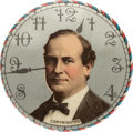 """Political:Pinback Buttons (1896-present), William Jennings Bryan: Rare Large Size 1 3/4"""" Clock Face Design 16-to-1 Button...."""