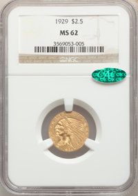 1929 $2 1/2 MS62 NGC. CAC. NGC Census: (8067/9444). PCGS Population: (4786/6830). MS62. Mintage 532,000. ...(PCGS# 7953)