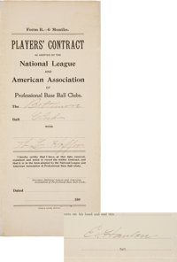 1897 Ned Hanlon Signed Baltimore Orioles Player's Contract