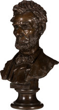 Antiques:Decorative Americana, Abraham Lincoln: Life-Size Bronze Bust by Bissell, Cast by Henry Bonnard. ...