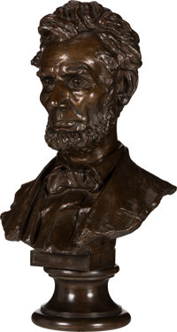 Abraham Lincoln: Life-Size Bronze Bust by Bissell, Cast by Henry Bonnard