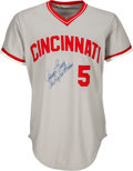 Baseball Collectibles:Uniforms, 1975 Johnny Bench World Series Game Worn & Signed Cincinnati Reds Jersey, MEARS A10--Photo Matched to Game One!...