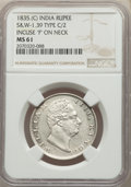 India:British India, India: British India. William IV Rupee 1835.-(c) MS61 NGC,...