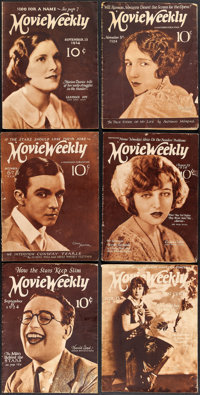"""Movie Weekly (Movie Weekly Publishing, 1921-1924). Fine. Magazines (10) (Multiple Pages, 9.25"""" X 12.5""""). Misce..."""