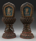 Carvings, A Pair of Sino-Tibetan Carved, Lacquered, and Parcel Gilt Wood Altarpieces with Polychromed Silk Panels, 18th century. 9-3/8... (Total: 2 Items)