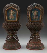 A Pair of Sino-Tibetan Carved, Lacquered, and Parcel Gilt Wood Altarpieces with Polychromed Silk Panels, 18th century