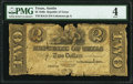 Austin, TX- Republic of Texas Exchequer Note $2 Apr. 1, 1843 Cr. A15 Medlar 35 PMG Good 4