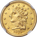 Classic Quarter Eagles, 1839 $2 1/2 MS60+ NGC. Repunched 8, Variety 21, R.3....