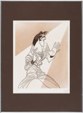 Music Memorabilia:Original Art, Elvis Presley Limited Edition Drawing 67/150 Signed By Artist Al Hirschfeld (1968)....