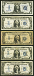Fr. 1606 $1 1934 Silver Certificates. Five Examples. Very Good to Very Fine. ... (Total: 5 notes)