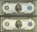 Fr. 846 $5 1914 Federal Reserve Note About New; Fr. 847a $5 1914 Federal Reserve Note Very Fine+. ... (Total: 2 notes)
