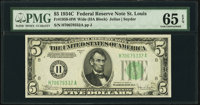 Fr. 1959-H $5 1934C Wide Federal Reserve Note. PMG Gem Uncirculated 65 EPQ