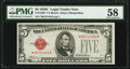 Fr. 1528* $5 1928C Legal Tender Star Note. PMG Choice About Unc 58