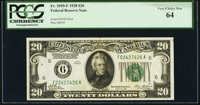 Fr. 2050-F $20 1928 Federal Reserve Note. PCGS Very Choice New 64