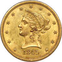 1845-O $10 Repunched Date MS62 PCGS. CAC. Variety 1
