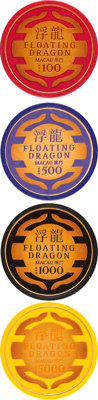 """Skyfall (MGM, 2012). Very Fine/Near Mint. Screen Used Floating Dragon Casino Chips (4) (Diameter: 1.5"""") 100, 500, 1..."""