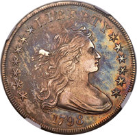 1798 $1 Large Eagle, Pointed 9, Close Date, B-27, BB-113, R.2, AU58 NGC....(PCGS# 40030)
