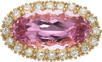 Kunzite, Diamond, Gold Enhancer-Pendant