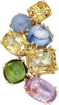 Estate Jewelry:Brooches - Pins, Sapphire, Tourmaline, Gold Brooch . ...