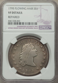 1795 $1 Flowing Hair, Three Leaves -- Repaired -- NGC Details. VF. Mintage 160,295....(PCGS# 6852)
