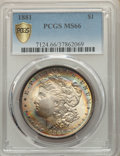 1881 $1 MS66 PCGS. PCGS Population: (230/5 and 43/1+). NGC Census: (53/2 and 4/0+). CDN: $1,400 Whsle. Bid for NGC/PCGS...